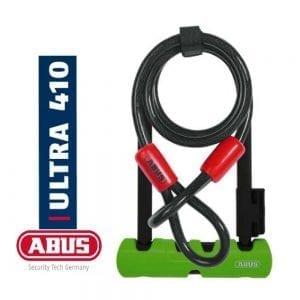 """מנעול פרסה ABUS – Ultra 410 [ירוק] 230 מ""""מ + כבל קשירה"""